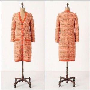 Anthropologie orange Jacquard sweater cardigan